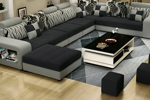 7 seater sectional Black/Gray