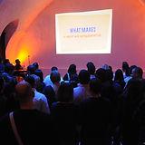 Audience viewing presentation slides