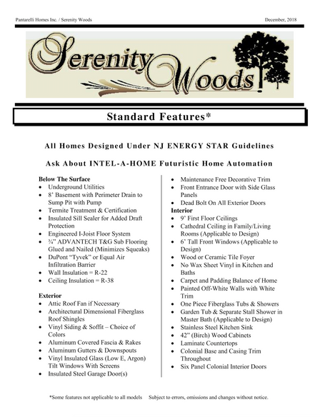 Serenity Woods - Upgrades and Inclusions