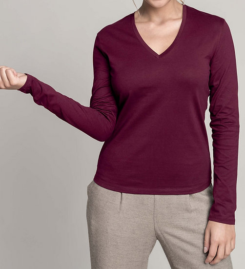 KARIBAN | T-shirt col V manches longues Femme K382