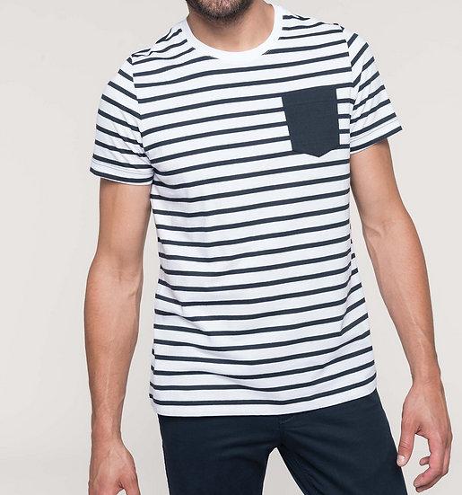KARIBAN | T-shirt rayé marin avec poche Hommes K378