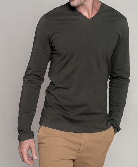 KARIBAN | T-shirt col V manches longues Homme K358