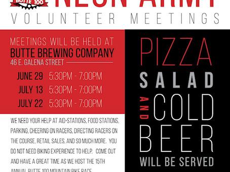 Butte 100 Neon Army Volunteer Meeting Schedule