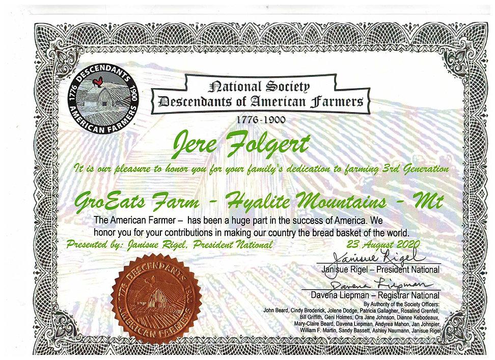 National Society Descendants of American Farmers Jere Folgert Janisue Rigel American Farmer