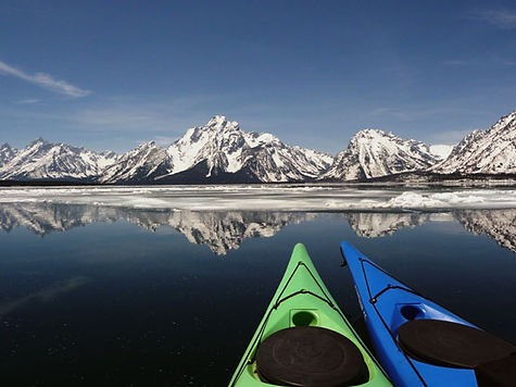Blue and Green Kayak Teton National Park Ice and Snow