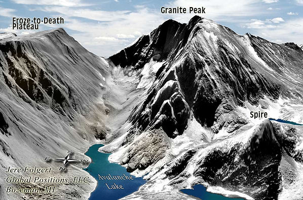 Granite Peak, Montana, 3D Map, Avalanche Lake, Froze to Death Plateau, Map, hiking, route, montana, wilderness, backcountry, spire, ropes, clips, approach, glacier