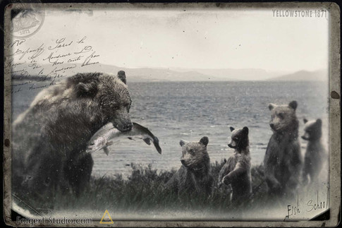 Fishing School. Yellowstone 1871