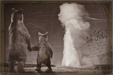 Together at Old Faithful. Yellowstone 1871