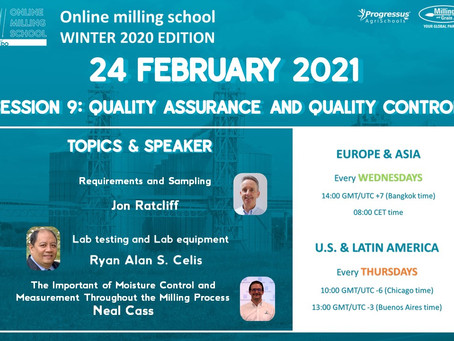 New Topic ! for Online Milling School Winter 2020 : Quality Assurance and Quality Control