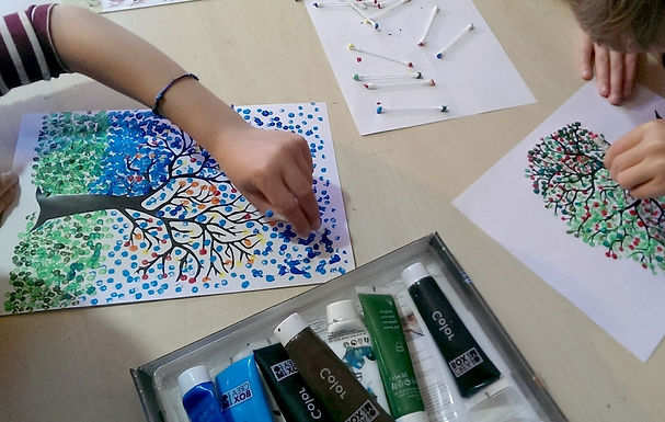 Peinture pointillisme au coton-tige !