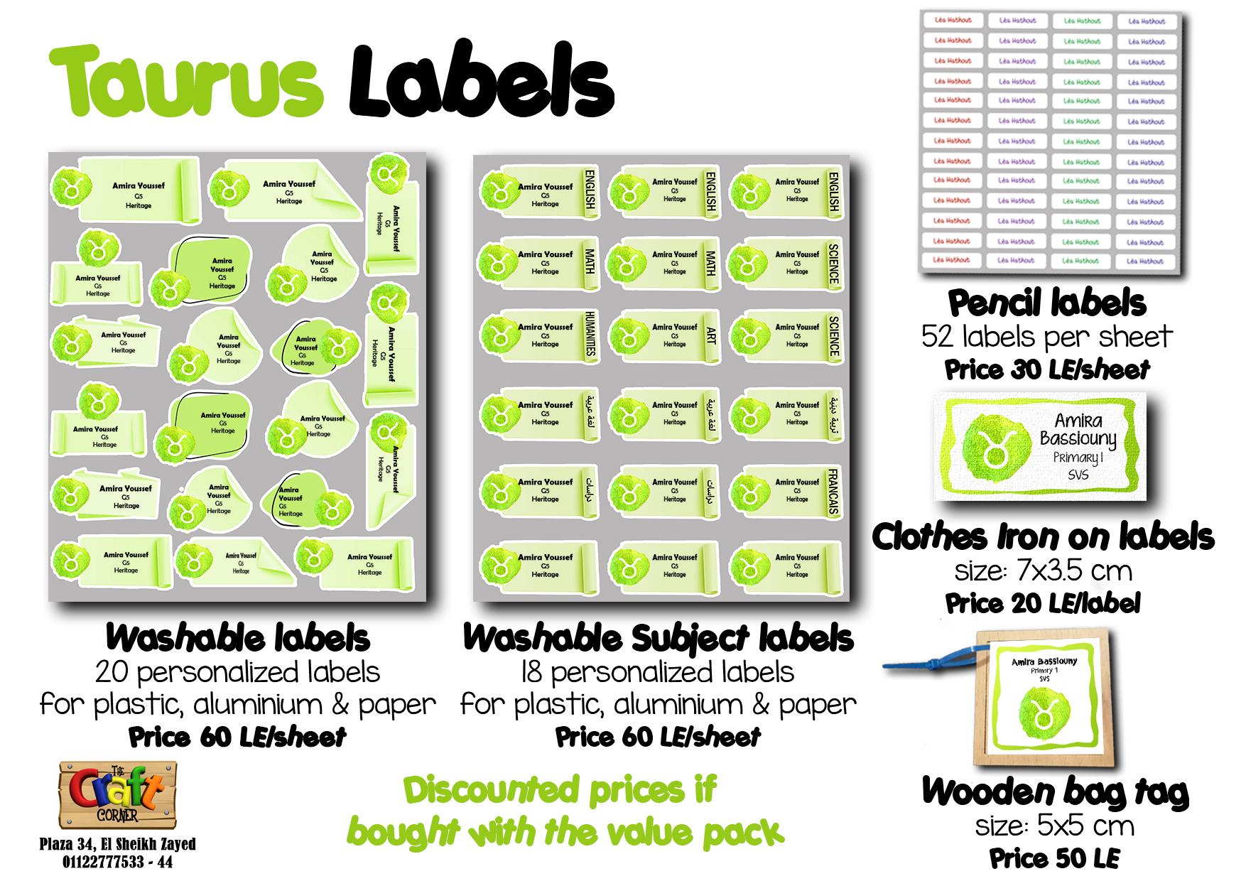 taurus Labels