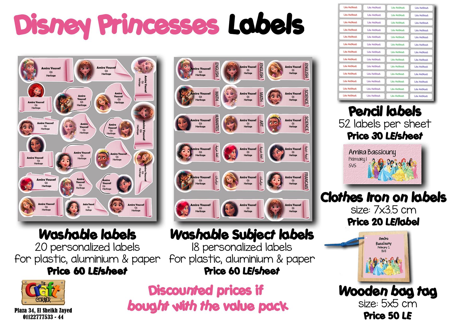 Disney princesses Labels