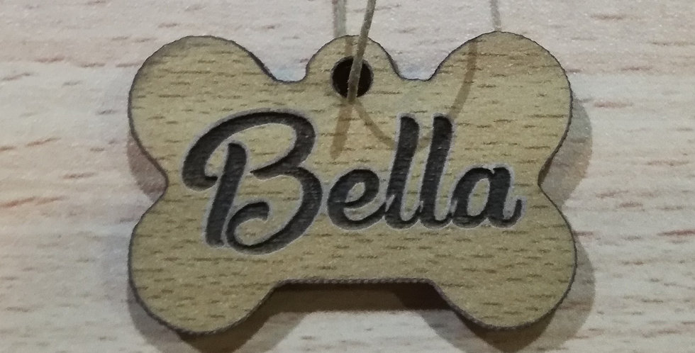 Personalized wooden engraved dog tag
