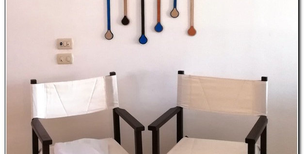Wooden beach oars wall art