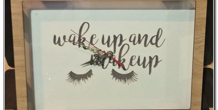 'WAKE UP AND MAKEUP' wall clock
