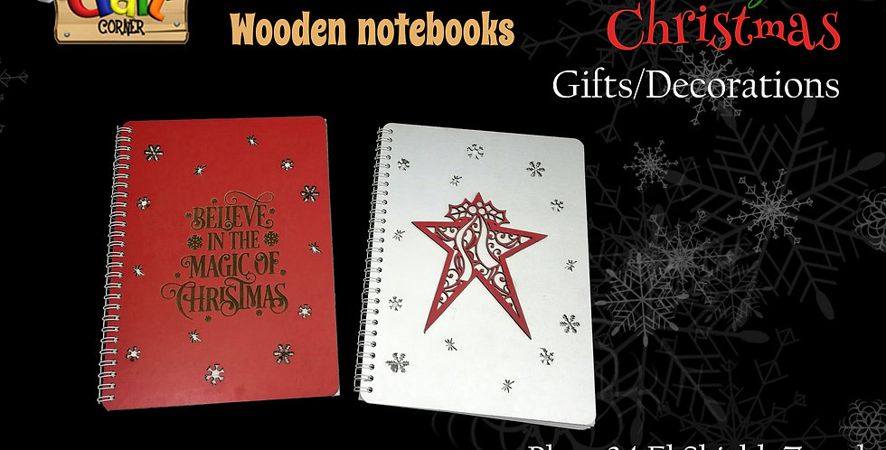 Wooden Christmas themed notebook