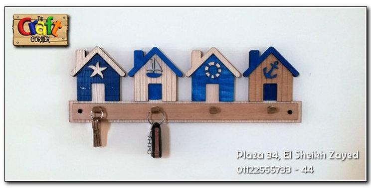 Wooden beach keychain hanger