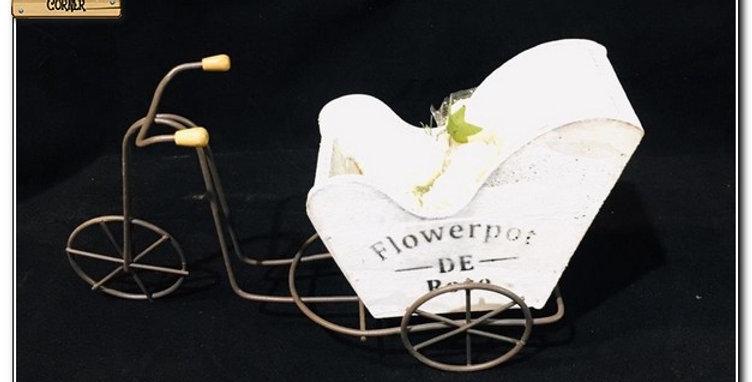 Wooden bike flower pot