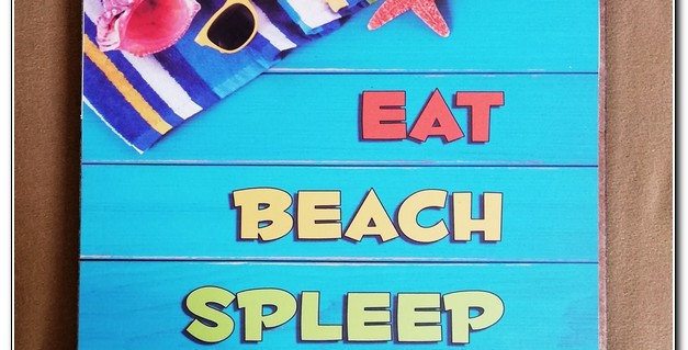wooden based beach wall art