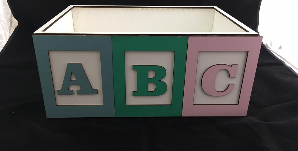 ABC rectangular wooden box without lid