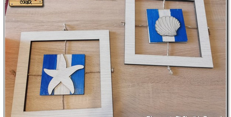 Set of 2 wooden beach wall art