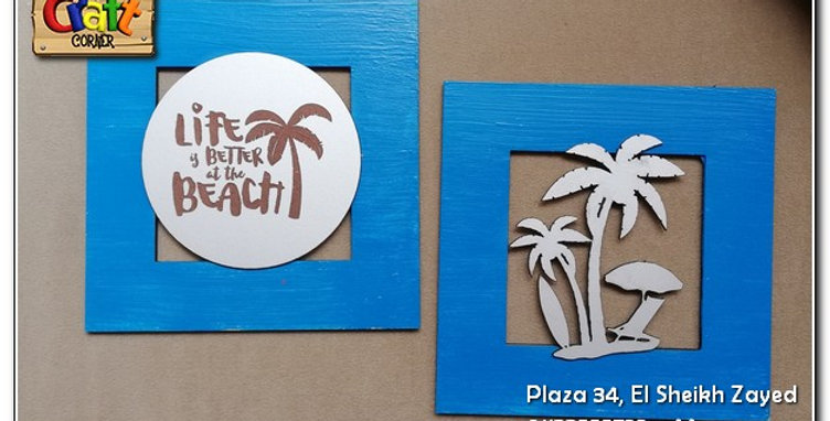 Set of 2 wooden beach wall art