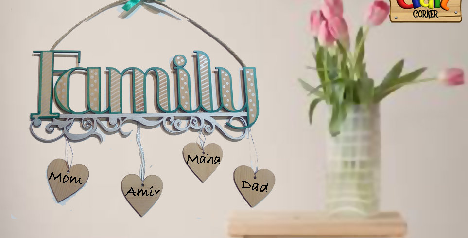 Family wall art with dangling names