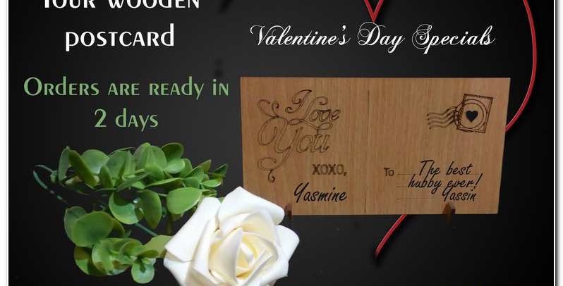 Wooden engraved postcard (personalized)