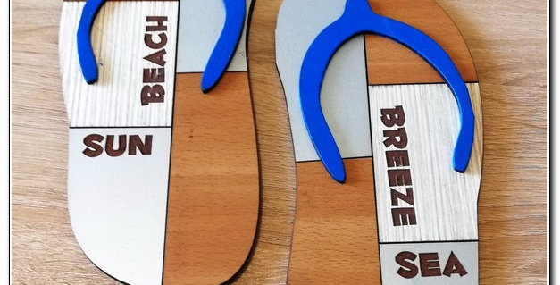 wooden flip flops wall art