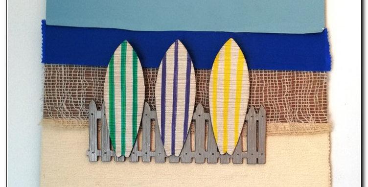 Beach multimaterial wall art
