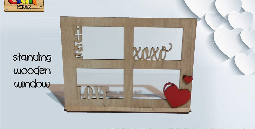 Wooden window message table stand