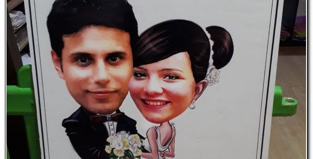 Personalized caricature Wedding poster