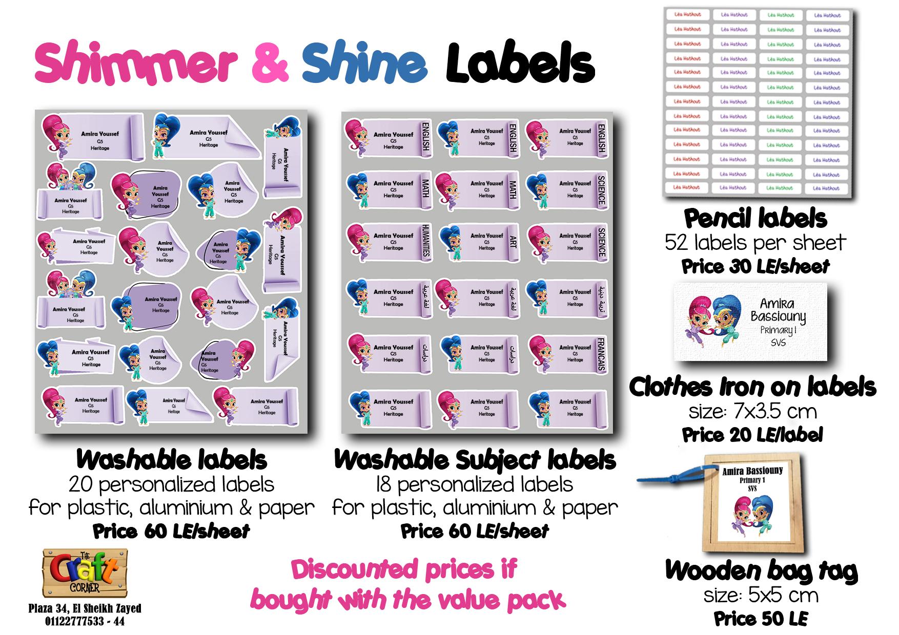 shimmer & shine Labels