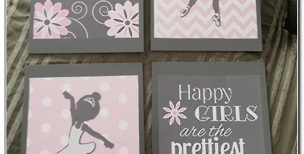 Pink Girly wall art set