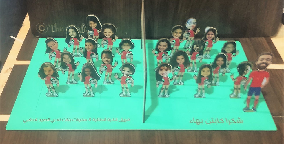 Personalized caricature volley ball field