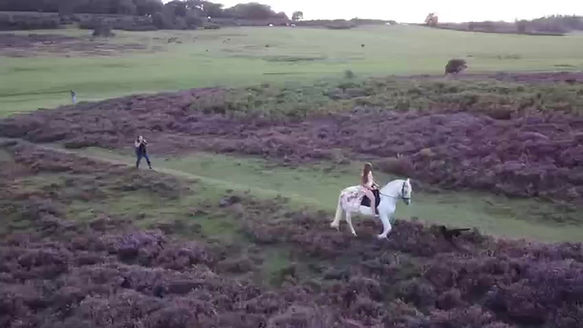 Here is some drone footage of horse photographer, Dawn Cotterell working with a client amongst the heather.