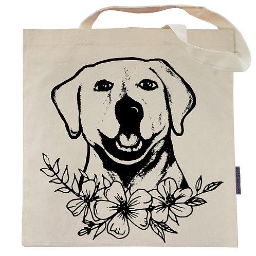 Labrador Flower Power Tote Bag