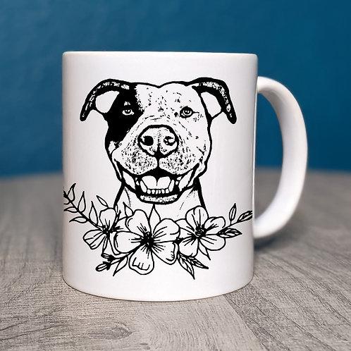 Pit Bull Flower Power Coffee Mug