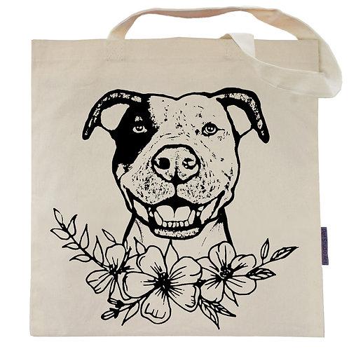Pit Bull Flower Power Tote Bag