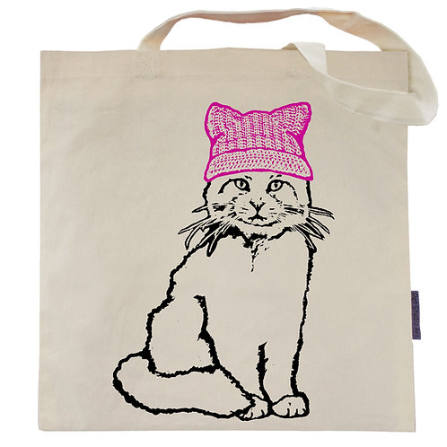 Pussycat in a Pussy Hat Tote Bag
