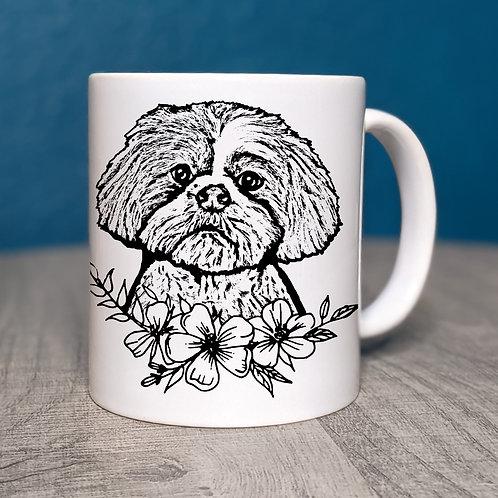 Shih Tzu Flower Power Coffee Mug