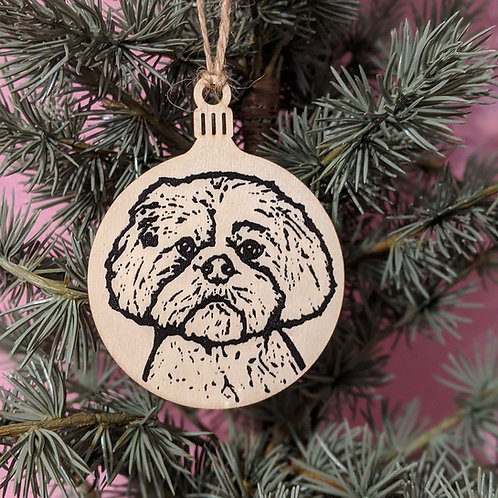 Penelope the Shih Tzu Holiday Ornament