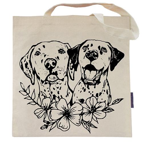 Dalmatians Flower Power Tote Bag