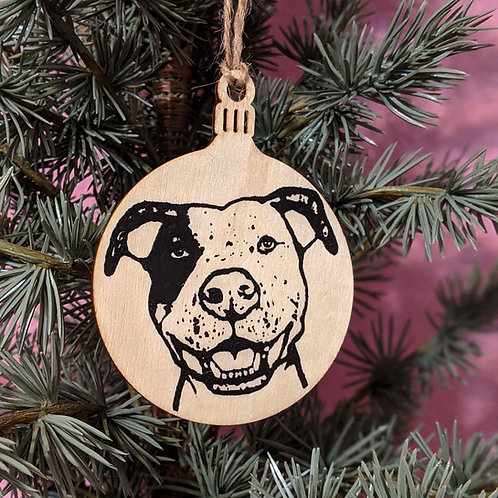 Gidget the Pit Bull Holiday Ornament