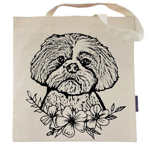 Shih Tzu Flower Power Tote Bag