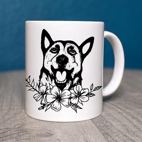 German Shepherd Flower Power Coffee Mug