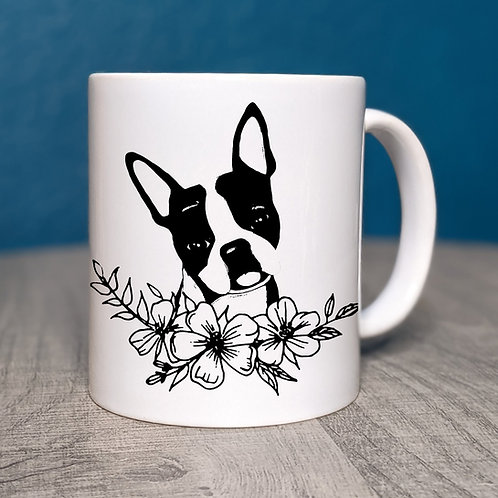 Boston Terrier Flower Power Coffee Mug