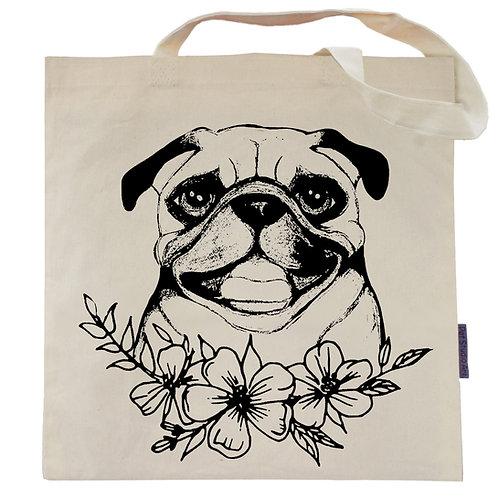 Pug Flower Power Tote Bag