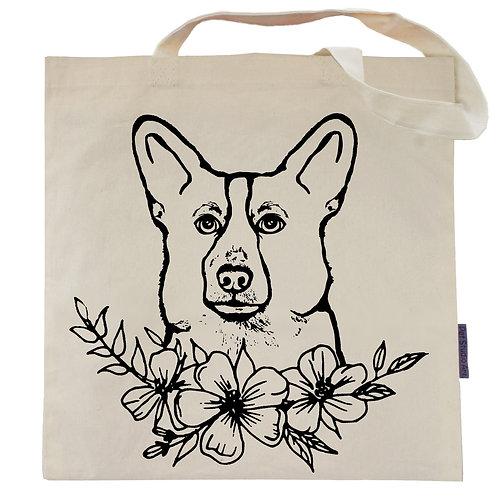 Corgi Flower Power Tote Bag