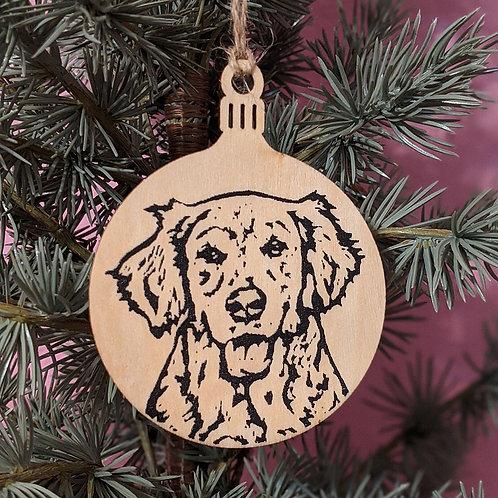 Ginny the Golden Retriever Holiday Ornament